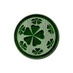Leather-Look Irish Clover Ball Rubber Round Coaster (4 pack)