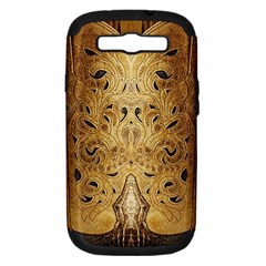 Golden Brown Tooled Faux Leather Look Samsung Galaxy S Iii Hardshell Case (pc+silicone) by artattack4all