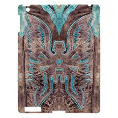 Turquoise And Gray Eagle Tooled Leather Look Apple Ipad 3/4 Hardshell Case by artattack4all
