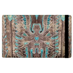 Turquoise And Gray Eagle Tooled Leather Look Apple Ipad 3/4 Flip Case by artattack4all