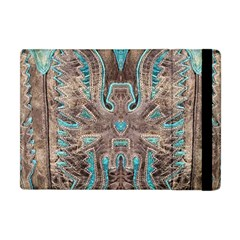 Turquoise And Gray Eagle Tooled Leather Look Apple Ipad Mini Flip Case by artattack4all