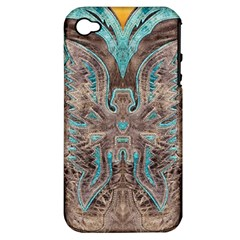 Turquoise And Gray Eagle Tooled Leather Look Apple Iphone 4/4s Hardshell Case (pc+silicone) by artattack4all