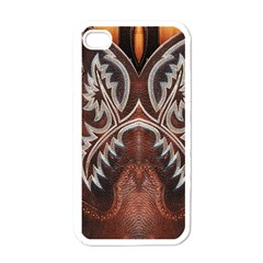 Brown And Black Tooled Leather Design Look Apple Iphone 4 Case (white) by artattack4all