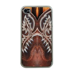 Brown And Black Tooled Leather Design Look Apple Iphone 4 Case (clear) by artattack4all