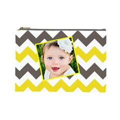 Chevron Yellow Brown By Danielle Christiansen   Cosmetic Bag (large)   Fikf51gcez6y   Www Artscow Com Front
