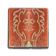 Orange And Cross Design On Leather Look Memory Card Reader With Storage (square) by artattack4all