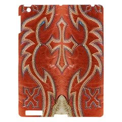 Orange and Cross Design on Leather Look Apple iPad 3/4 Hardshell Case by artattack4all