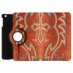Orange And Cross Design On Leather Look Apple Ipad Mini Flip 360 Case by artattack4all
