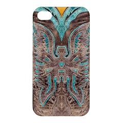 Turquoise And Gray Western Leather Look Apple Iphone 4/4s Premium Hardshell Case by artattack4all