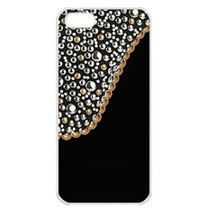 Black Leather Look W/silver Studs Apple Iphone 5 Seamless Case (white) by artattack4all