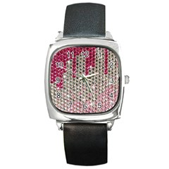 Mauve Gradient Rhinestones  Black Leather Watch (square) by artattack4all