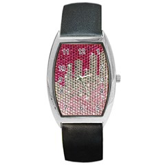 Mauve Gradient Rhinestones  Black Leather Watch (tonneau) by artattack4all