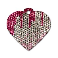 Mauve Gradient Rhinestones  Twin Sided Dog Tag (heart) by artattack4all