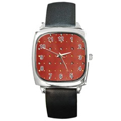 Studded Faux Leather Red Black Leather Watch (square) by artattack4all