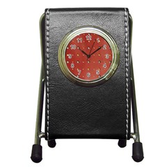 Studded Faux Leather Red Stationery Holder Clock by artattack4all