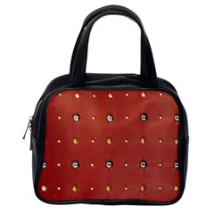 Studded Faux Leather Red Single Sided Satchel Handbag by artattack4all