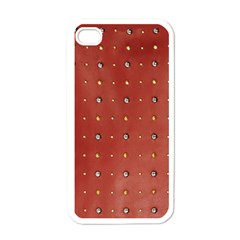 Studded Faux Leather Red White Apple Iphone 4 Case by artattack4all