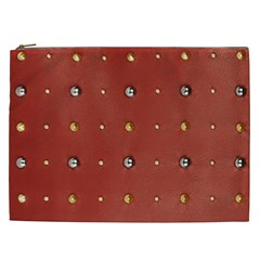 Studded Faux Leather Red Cosmetic Bag (xxl) by artattack4all