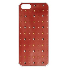 Studded Faux Leather Red Apple Iphone 5 Seamless Case (white) by artattack4all