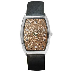 Light And Dark Sequin Design Black Leather Watch (tonneau) by artattack4all