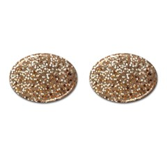 Light And Dark Sequin Design Oval Cuff Links by artattack4all