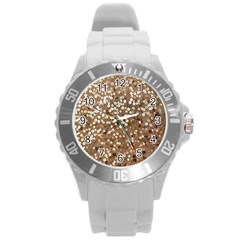 Light And Dark Sequin Design Round Plastic Sport Watch Large by artattack4all