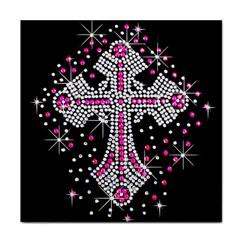 Hot Pink Rhinestone Cross Ceramic Tile by artattack4all