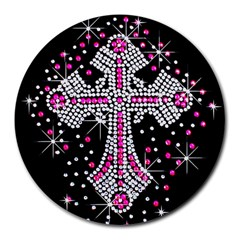 Hot Pink Rhinestone Cross 8  Mouse Pad (round) by artattack4all
