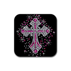 Hot Pink Rhinestone Cross 4 Pack Rubber Drinks Coaster (square) by artattack4all