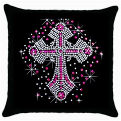 Hot Pink Rhinestone Cross Black Throw Pillow Case by artattack4all
