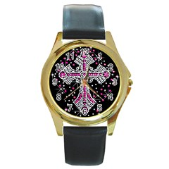 Hot Pink Rhinestone Cross Black Leather Gold Rim Watch (round) by artattack4all