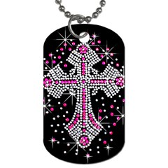 Hot Pink Rhinestone Cross Single Sided Dog Tag by artattack4all