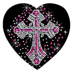 Hot Pink Rhinestone Cross Jigsaw Puzzle (heart) by artattack4all