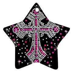 Hot Pink Rhinestone Cross Twin Sided Ceramic Ornament (star) by artattack4all