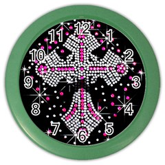 Hot Pink Rhinestone Cross Colored Wall Clock by artattack4all