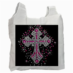 Hot Pink Rhinestone Cross Twin Sided Reusable Shopping Bag by artattack4all