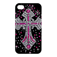 Hot Pink Rhinestone Cross Apple Iphone 4/4s Premium Hardshell Case by artattack4all