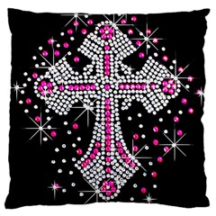 Hot Pink Rhinestone Cross Large Cushion Case (two Sides) by artattack4all