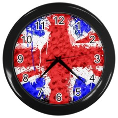 Distressed British Flag Bling Black Wall Clock by artattack4all