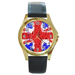 Distressed British Flag Bling Black Leather Gold Rim Watch (round) by artattack4all