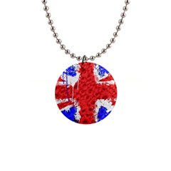 Distressed British Flag Bling Mini Button Necklace by artattack4all