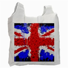 Distressed British Flag Bling Single Sided Reusable Shopping Bag by artattack4all