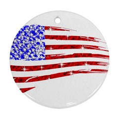 Sparkling American Flag Ceramic Ornament (round) by artattack4all