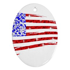 Sparkling American Flag Ceramic Ornament (oval) by artattack4all