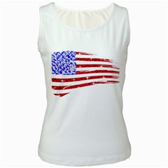 Sparkling American Flag White Womens  Tank Top by artattack4all