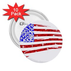 Sparkling American Flag 10 Pack Regular Button (round) by artattack4all