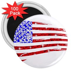 Sparkling American Flag 100 Pack Large Magnet (round) by artattack4all