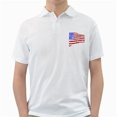 Sparkling American Flag White Mens  Polo Shirt by artattack4all
