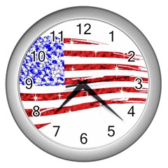 Sparkling American Flag Silver Wall Clock by artattack4all