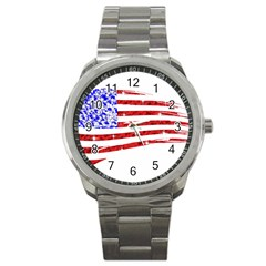 Sparkling American Flag Stainless Steel Sports Watch (round) by artattack4all